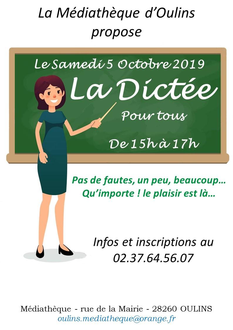 Affiche La Dictée le samedi 5 octobre 2019
