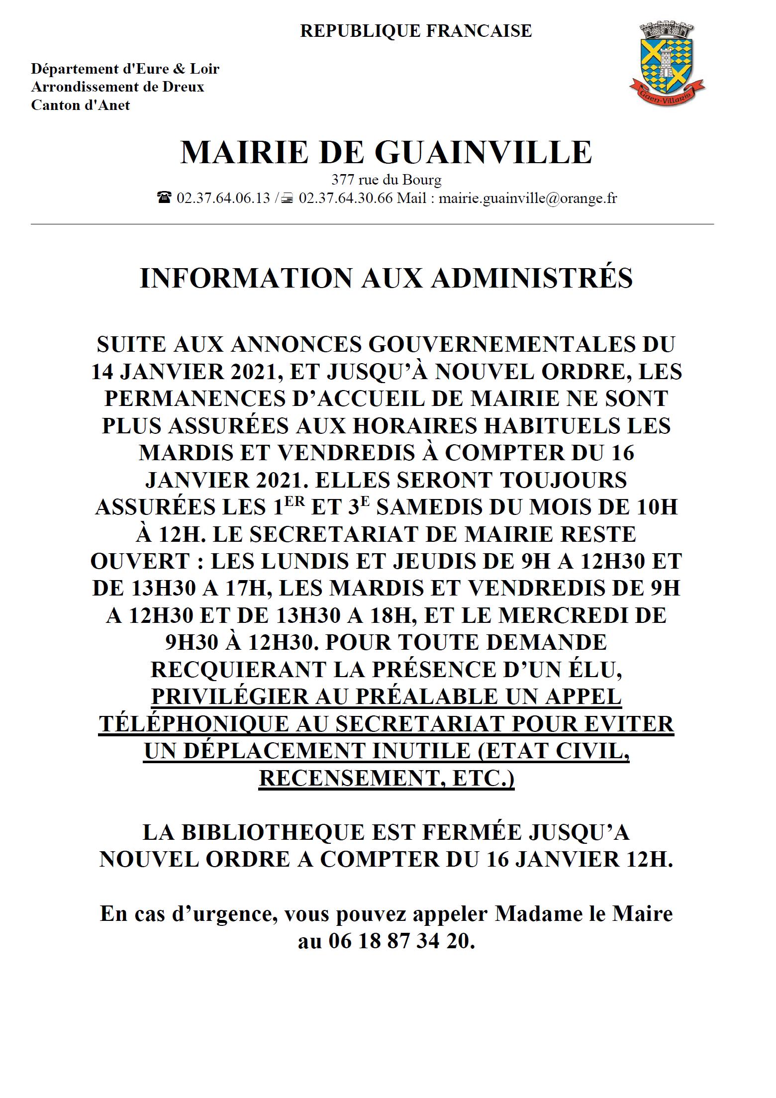 Information modifs accueil mairie