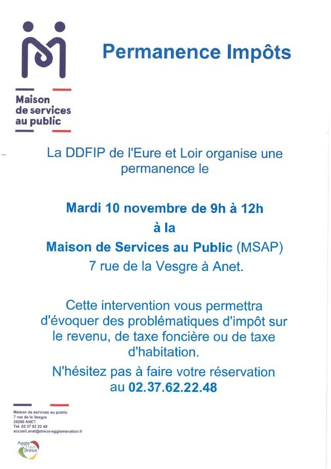 permanence impôts DDFIP